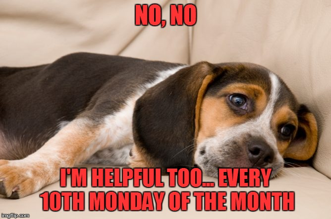 NO, NO I'M HELPFUL TOO... EVERY 10TH MONDAY OF THE MONTH | made w/ Imgflip meme maker