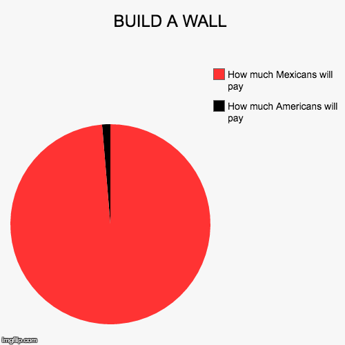 BUILD A WALL | How much Americans will pay, How much Mexicans will pay | image tagged in funny,pie charts | made w/ Imgflip pie chart maker