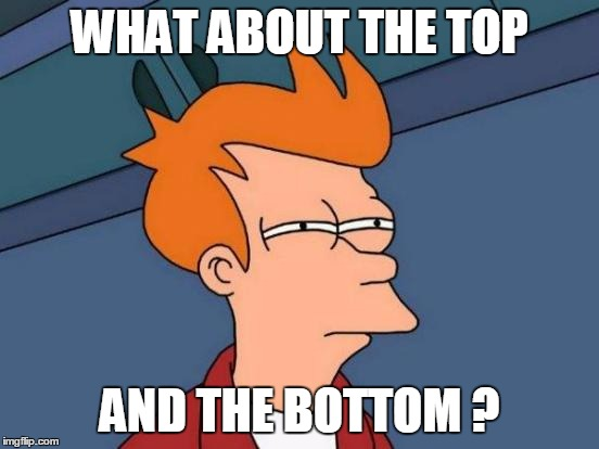 Futurama Fry Meme | WHAT ABOUT THE TOP AND THE BOTTOM ? | image tagged in memes,futurama fry | made w/ Imgflip meme maker
