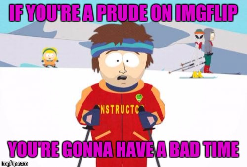 Foul language, pornographic gifs and even bestiality jokes | IF YOU'RE A PRUDE ON IMGFLIP YOU'RE GONNA HAVE A BAD TIME | image tagged in memes,super cool ski instructor | made w/ Imgflip meme maker