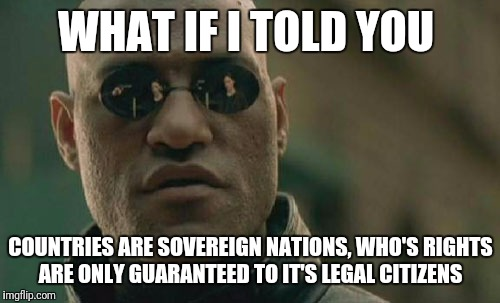 Matrix Morpheus Meme | WHAT IF I TOLD YOU COUNTRIES ARE SOVEREIGN NATIONS, WHO'S RIGHTS ARE ONLY GUARANTEED TO IT'S LEGAL CITIZENS | image tagged in memes,matrix morpheus | made w/ Imgflip meme maker
