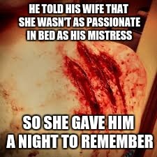 claw marks | HE TOLD HIS WIFE THAT SHE WASN'T AS PASSIONATE IN BED AS HIS MISTRESS SO SHE GAVE HIM A NIGHT TO REMEMBER | image tagged in claw marks | made w/ Imgflip meme maker