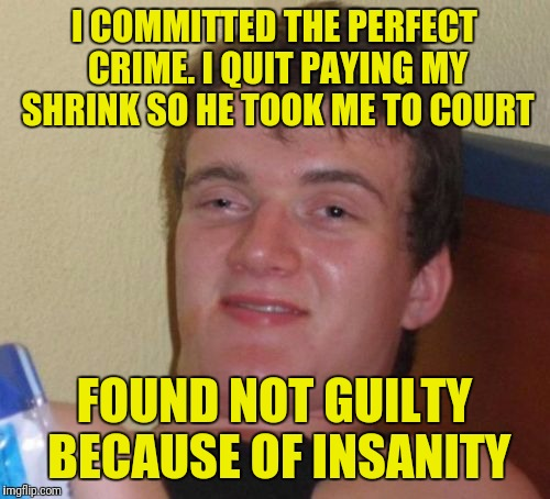 10 Guy Meme | I COMMITTED THE PERFECT CRIME. I QUIT PAYING MY SHRINK SO HE TOOK ME TO COURT FOUND NOT GUILTY BECAUSE OF INSANITY | image tagged in memes,10 guy | made w/ Imgflip meme maker