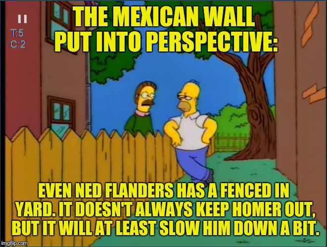 Hopefully Marge Can Stop Homer From Digging Under It | THE MEXICAN WALL PUT INTO PERSPECTIVE: EVEN NED FLANDERS HAS A FENCED IN YARD. IT DOESN'T ALWAYS KEEP HOMER OUT, BUT IT WILL AT LEAST SLOW H | image tagged in the simpsons,homer simpson,ned flanders,mexican wall,secure the border,fence aka border wall | made w/ Imgflip meme maker