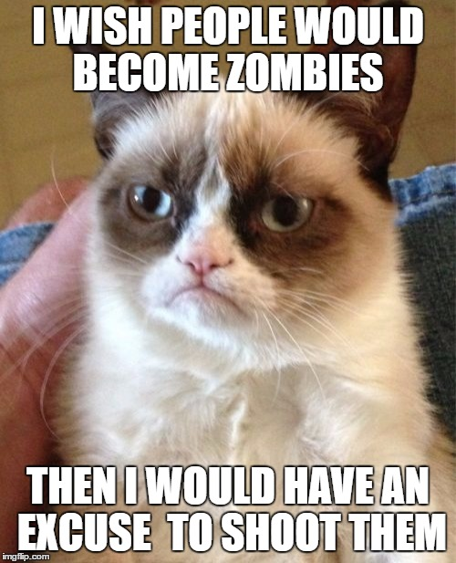 Grumpy Cat Meme | I WISH PEOPLE WOULD BECOME ZOMBIES THEN I WOULD HAVE AN EXCUSE  TO SHOOT THEM | image tagged in memes,grumpy cat | made w/ Imgflip meme maker
