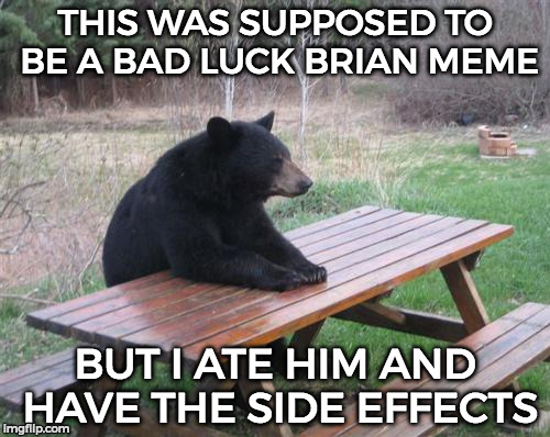 Bad Luck Bear Brian | THIS WAS SUPPOSED TO BE A BAD LUCK BRIAN MEME BUT I ATE HIM AND HAVE THE SIDE EFFECTS | image tagged in memes,bad luck brian,funny | made w/ Imgflip meme maker