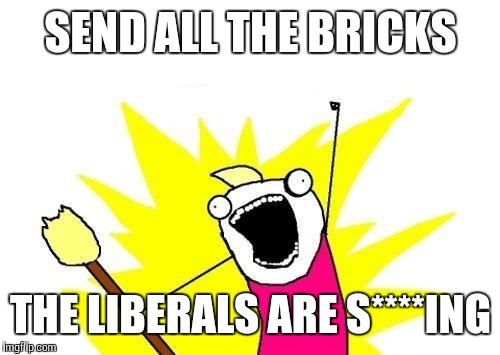 X All The Y Meme | SEND ALL THE BRICKS THE LIBERALS ARE S****ING | image tagged in memes,x all the y | made w/ Imgflip meme maker