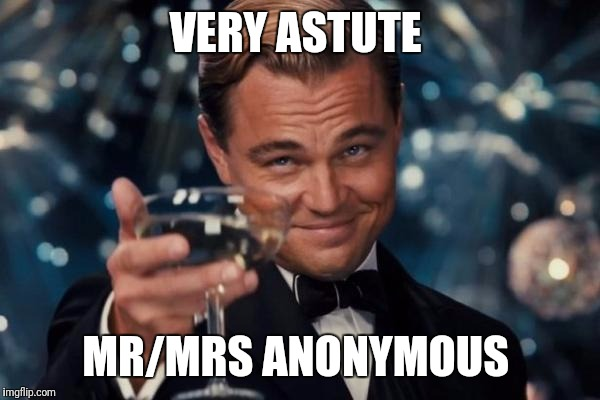 Leonardo Dicaprio Cheers Meme | VERY ASTUTE MR/MRS ANONYMOUS | image tagged in memes,leonardo dicaprio cheers | made w/ Imgflip meme maker