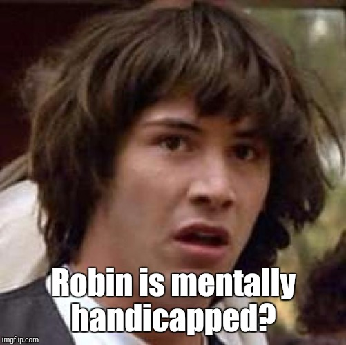Conspiracy Keanu Meme | Robin is mentally handicapped? | image tagged in memes,conspiracy keanu | made w/ Imgflip meme maker