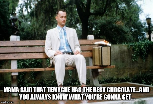 Forrest Gump | MAMA SAID THAT TEMYCHE HAS THE BEST CHOCOLATE...AND YOU ALWAYS KNOW WHAT YOU'RE GONNA GET... | image tagged in forrest gump | made w/ Imgflip meme maker