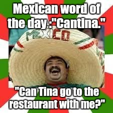 "1euwr4.jpg | Mexican word of the day :""Cantina."" ""Can Tina go to the restaurant with me?"" 