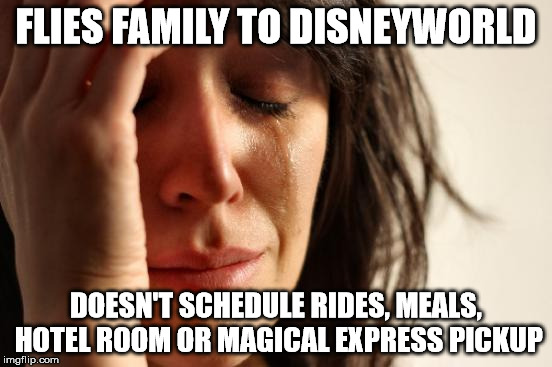 First World Problems Meme | FLIES FAMILY TO DISNEYWORLD DOESN'T SCHEDULE RIDES, MEALS, HOTEL ROOM OR MAGICAL EXPRESS PICKUP | image tagged in memes,first world problems | made w/ Imgflip meme maker