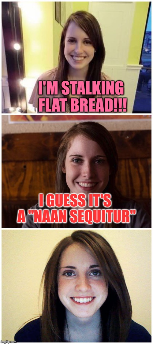 "Bad Pun Laina | I'M STALKING FLAT BREAD!!! I GUESS IT'S A ""NAAN SEQUITUR"" 
