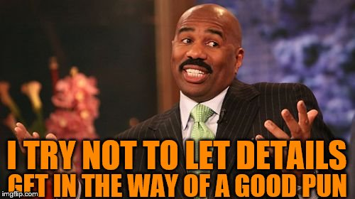 Steve Harvey Meme | I TRY NOT TO LET DETAILS GET IN THE WAY OF A GOOD PUN | image tagged in memes,steve harvey | made w/ Imgflip meme maker