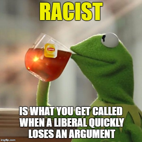 But Thats None Of My Business Meme | RACIST IS WHAT YOU GET CALLED WHEN A LIBERAL QUICKLY LOSES AN ARGUMENT | image tagged in memes,but thats none of my business,kermit the frog | made w/ Imgflip meme maker