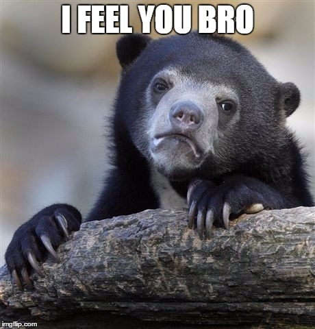 Confession Bear Meme | I FEEL YOU BRO | image tagged in memes,confession bear | made w/ Imgflip meme maker