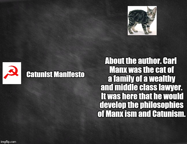 black blank |  About the author. Carl Manx was the cat of a family of a wealthy and middle class lawyer.  It was here that he would develop the philosophies of Manx ism and Catunism. Catunist Manifesto | image tagged in black blank,funny | made w/ Imgflip meme maker