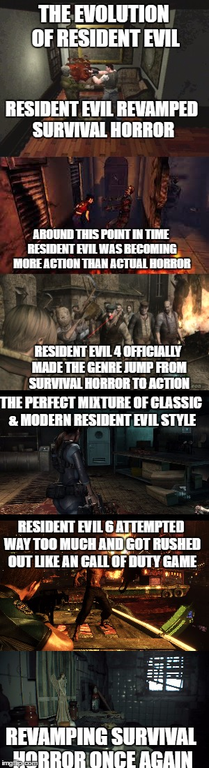 THE EVOLUTION OF RESIDENT EVIL REVAMPING SURVIVAL HORROR ONCE AGAIN RESIDENT EVIL 6 ATTEMPTED WAY TOO MUCH AND GOT RUSHED OUT LIKE AN CALL O | image tagged in resident evil,capcom,evolution,horror,action | made w/ Imgflip meme maker