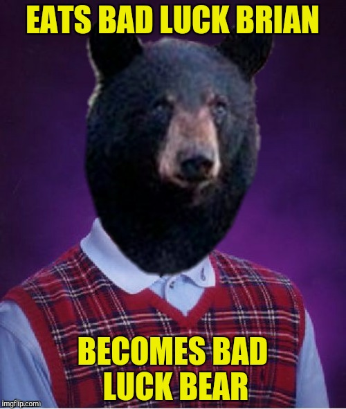 EATS BAD LUCK BRIAN BECOMES BAD LUCK BEAR | made w/ Imgflip meme maker