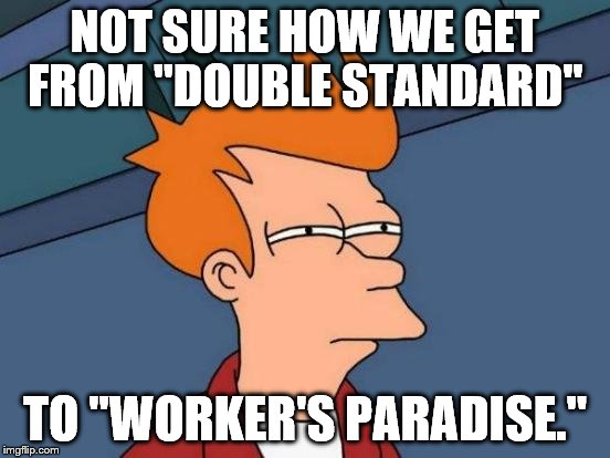 "Futurama Fry Meme | NOT SURE HOW WE GET FROM ""DOUBLE STANDARD"" TO ""WORKER'S PARADISE."" 