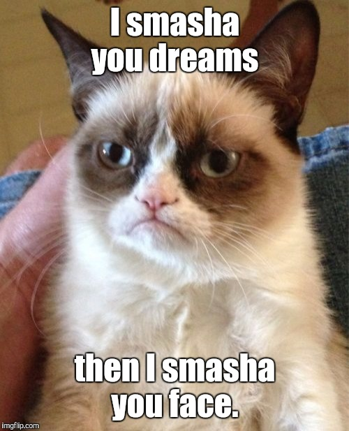 Grumpy Cat Meme | I smasha you dreams then I smasha you face. | image tagged in memes,grumpy cat | made w/ Imgflip meme maker