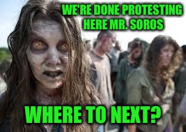 zombies | WE'RE DONE PROTESTING HERE MR. SOROS WHERE TO NEXT? | image tagged in zombies | made w/ Imgflip meme maker
