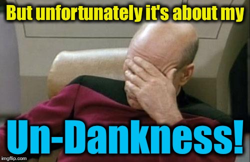 Captain Picard Facepalm Meme | But unfortunately it's about my Un-Dankness! | image tagged in memes,captain picard facepalm | made w/ Imgflip meme maker