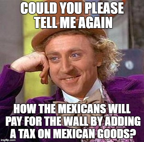 Creepy Condescending Wonka | COULD YOU PLEASE TELL ME AGAIN HOW THE MEXICANS WILL PAY FOR THE WALL BY ADDING A TAX ON MEXICAN GOODS? | image tagged in memes,creepy condescending wonka,wall,tax,mexican,mexico wall | made w/ Imgflip meme maker