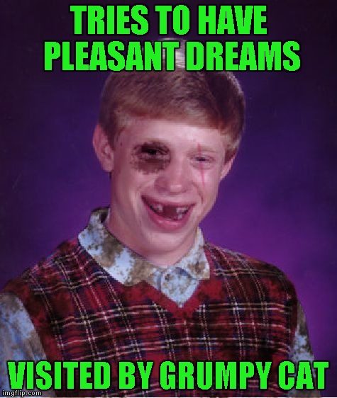 TRIES TO HAVE PLEASANT DREAMS VISITED BY GRUMPY CAT | made w/ Imgflip meme maker