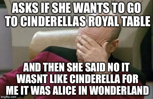 Captain Picard Facepalm Meme | ASKS IF SHE WANTS TO GO TO CINDERELLAS ROYAL TABLE AND THEN SHE SAID NO IT WASNT LIKE CINDERELLA FOR ME IT WAS ALICE IN WONDERLAND | image tagged in memes,captain picard facepalm | made w/ Imgflip meme maker
