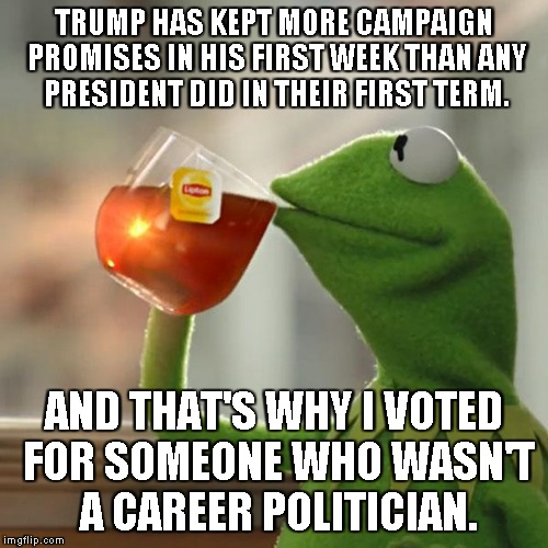 But Thats None Of My Business Meme | TRUMP HAS KEPT MORE CAMPAIGN PROMISES IN HIS FIRST WEEK THAN ANY PRESIDENT DID IN THEIR FIRST TERM. AND THAT'S WHY I VOTED FOR SOMEONE WHO W | image tagged in memes,but thats none of my business,kermit the frog | made w/ Imgflip meme maker