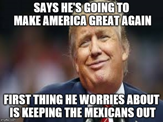 make America great again build a wall | SAYS HE'S GOING TO MAKE AMERICA GREAT AGAIN FIRST THING HE WORRIES ABOUT IS KEEPING THE MEXICANS OUT | image tagged in funny | made w/ Imgflip meme maker