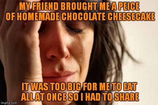 First World Problems Meme | MY FRIEND BROUGHT ME A PEICE OF HOMEMADE CHOCOLATE CHEESECAKE IT WAS TOO BIG FOR ME TO EAT ALL AT ONCE SO I HAD TO SHARE | image tagged in memes,first world problems | made w/ Imgflip meme maker