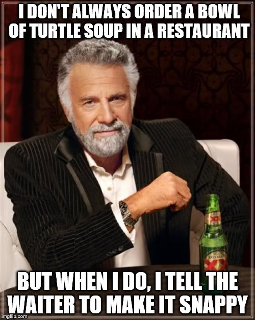 The Most Interesting Man In The World Meme | I DON'T ALWAYS ORDER A BOWL OF TURTLE SOUP IN A RESTAURANT BUT WHEN I DO, I TELL THE WAITER TO MAKE IT SNAPPY | image tagged in memes,the most interesting man in the world | made w/ Imgflip meme maker
