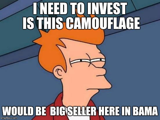 Futurama Fry Meme | I NEED TO INVEST IS THIS CAMOUFLAGE WOULD BE  BIG SELLER HERE IN BAMA | image tagged in memes,futurama fry | made w/ Imgflip meme maker