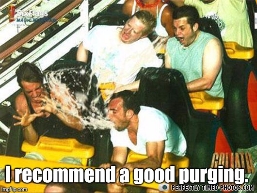 Spray | I recommend a good purging. | image tagged in spray | made w/ Imgflip meme maker