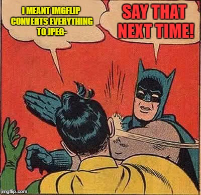 Batman Slapping Robin Meme | I MEANT IMGFLIP CONVERTS EVERYTHING TO JPEG- SAY THAT NEXT TIME! | image tagged in memes,batman slapping robin | made w/ Imgflip meme maker