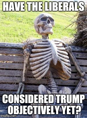 Waiting Skeleton Meme | HAVE THE LIBERALS CONSIDERED TRUMP OBJECTIVELY YET? | image tagged in memes,waiting skeleton | made w/ Imgflip meme maker