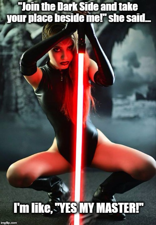 "Sith Femme | ""Join the Dark Side and take your place beside me!"" she said... I'm like, ""YES MY MASTER!"" 