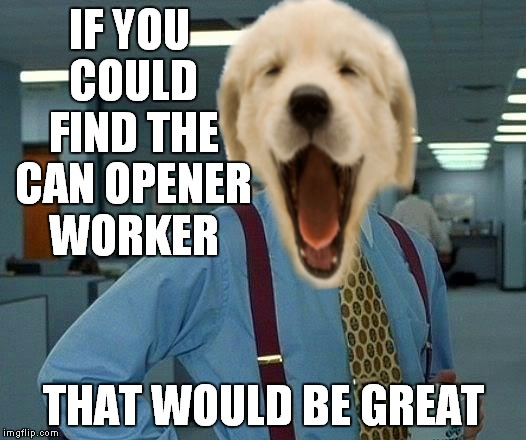 IF YOU COULD FIND THE CAN OPENER WORKER THAT WOULD BE GREAT | made w/ Imgflip meme maker