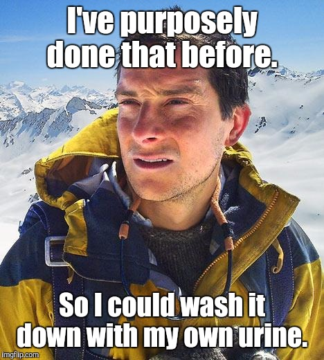 Bear-Grylls.jpg  | I've purposely done that before. So I could wash it down with my own urine. | image tagged in bear-gryllsjpg | made w/ Imgflip meme maker
