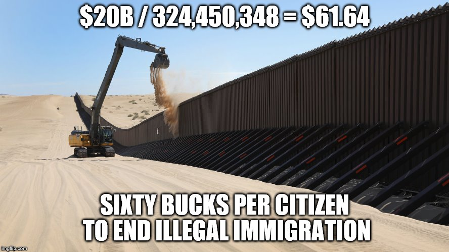 $20B / 324,450,348 = $61.64 SIXTY BUCKS PER CITIZEN TO END ILLEGAL IMMIGRATION | image tagged in immigration | made w/ Imgflip meme maker