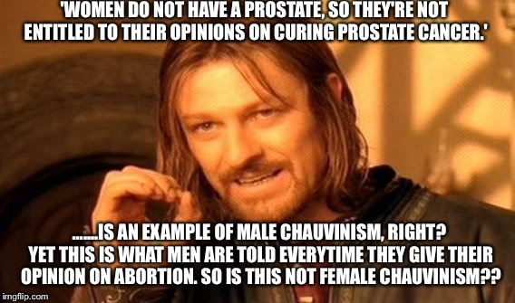 One Does Not Simply Meme | 'WOMEN DO NOT HAVE A PROSTATE, SO THEY'RE NOT ENTITLED TO THEIR OPINIONS ON CURING PROSTATE CANCER.' .......IS AN EXAMPLE OF MALE CHAUVINISM | image tagged in memes,one does not simply | made w/ Imgflip meme maker