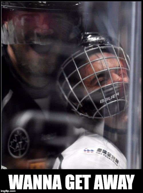 Justin Bieber face planted while playing hockey | WANNA GET AWAY | image tagged in memes,funny,justin bieber,belieber,hockey,celebrity | made w/ Imgflip meme maker