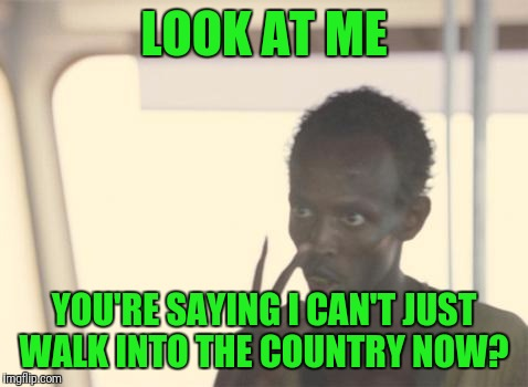 I'm The Captain Now Meme | LOOK AT ME YOU'RE SAYING I CAN'T JUST WALK INTO THE COUNTRY NOW? | image tagged in memes,i'm the captain now | made w/ Imgflip meme maker