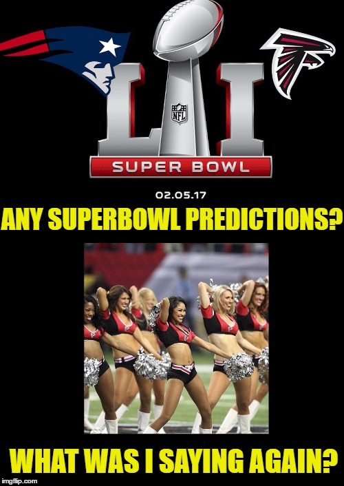 Patriots vs Falcons Superbowl 51  SQUIRREL! | ANY SUPERBOWL PREDICTIONS? WHAT WAS I SAYING AGAIN? | image tagged in memes,funny,superbowl,patriots,falcons,tom brady | made w/ Imgflip meme maker