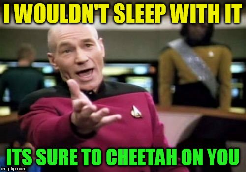 Picard Wtf Meme | I WOULDN'T SLEEP WITH IT ITS SURE TO CHEETAH ON YOU | image tagged in memes,picard wtf | made w/ Imgflip meme maker
