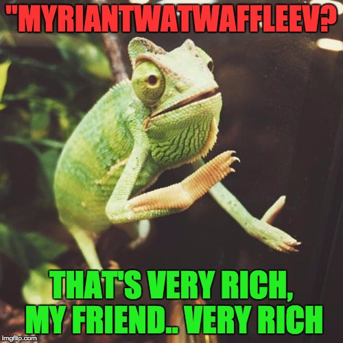 """MYRIANTWATWAFFLEEV? THAT'S VERY RICH, MY FRIEND.. VERY RICH 