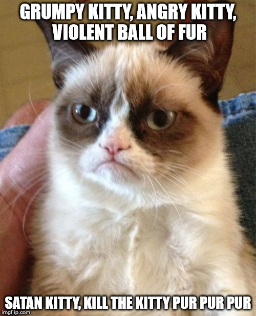 Grumpy Cat Meme | GRUMPY KITTY, ANGRY KITTY, VIOLENT BALL OF FUR SATAN KITTY, KILL THE KITTY PUR PUR PUR | image tagged in memes,grumpy cat | made w/ Imgflip meme maker