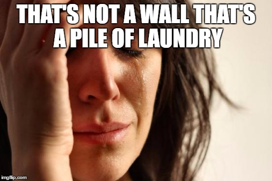 First World Problems Meme | THAT'S NOT A WALL THAT'S A PILE OF LAUNDRY | image tagged in memes,first world problems | made w/ Imgflip meme maker